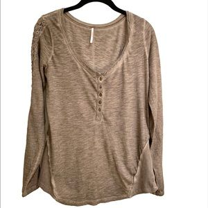 Free People L/S Henley Top: Size L